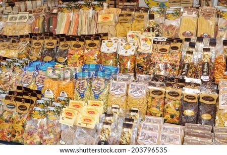 ROME, ITALY - MARCH 29, 2012: Variety of traditional Italian pasta for sale in Campo de Fiori, famous outdoor market in central Rome