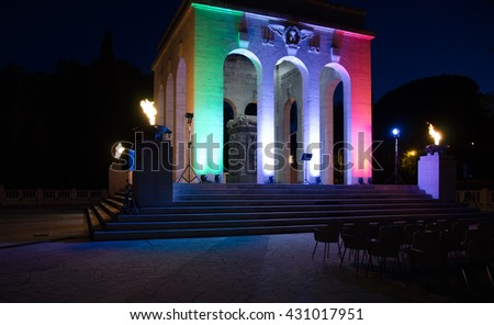 Rome, Italy. Mausoleum dedicated to the fallen for Rome located on Gianicolo