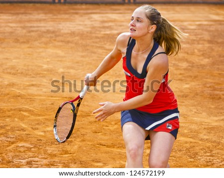 ROME, ITALY - MAY 13: Anna Chakvetadze playing last qualifying match at Internazionali BNL on May 13, 2012 in Rome, Italy - stock photo