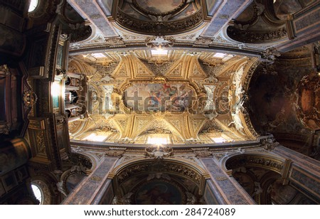 ROME, ITALY - MAY 7, 2015:  Baroque ceiling of the Santa Maria dell Orto church in Rione Trastevere - stock photo