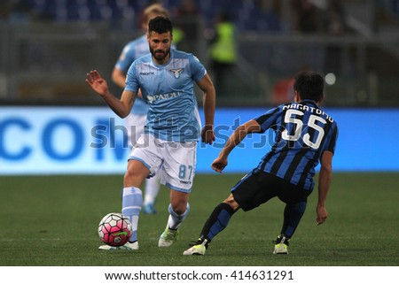 "ROME, ITALY - MAY 2016 : Candreva in action  during fotball match  of Italian League ""Serie A""  between Lazio vs Inter at the Olimpic Stadium  on may 1,  2016 in Rome."
