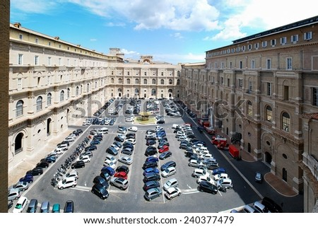 ROME, ITALY - MAY 30: Cars in Vatican museum on May 30, 2014, Rome, Italy. - stock photo