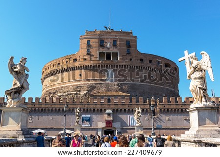 ROME, ITALY - MAY 9, 2014: Castle of the Holy Angel (Castel Sant`Angelo) - one of the main tourist attractions of Rome. - stock photo