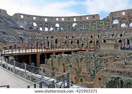 Rome, Italy - May, 15.2016 - Colosseum- Inside view of the theater in Rome , Italy - stock photo
