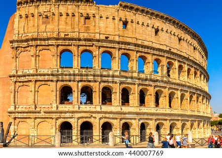 ROME, ITALY - MAY 7, 2016: Colosseum or Coliseum, Rome, Italy. One of the main touristic destinations in Rome - stock photo