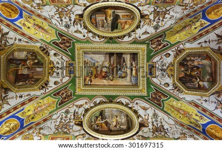 ROME, ITALY - MAY 3, 2015: detail of the paintings over the ceiling in the Christina Queen of Sweden room at Corsini Palace art gallery - stock photo