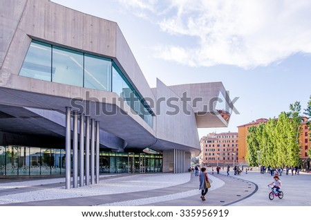 ROME, ITALY - MAY 8, 2015 : External view of the Maxxi National Museum. It is a national museum of contemporary art designed by British architect Zaha Hadid in 2010. Rome Italy