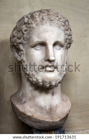 Rome, Italy - May 2, 2014: Head of King Phillip II of Macedonia, father of Alexander the Great, is a 1st century Roman copy in marble from Greek original. Chiaramonti Museum, Vatican