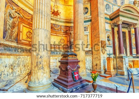 ROME, ITALY - MAY 09, 2017 : Inside interior of the Pantheon, is a former Roman temple, now a church, in Rome with tourists, Italy.
