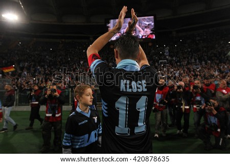 "ROME, ITALY - MAY 2016 : Klose's last match against Lazio during fotball match  of Italian League ""Serie A"" between SS LAZIO vs FIORENTINA at the Olimpic Stadium  on MAY  15, 2016 in Rome."