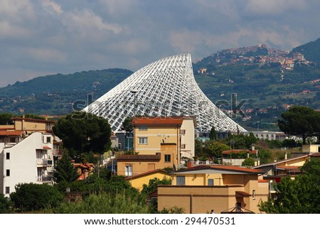 ROME, ITALY - MAY 24, 2015: Modern Pyramid at Tor Vergata by architect Santiago Calatrava for the unfinished Swimming Pool especially designed for the 2009 World Swimming Championships  - stock photo