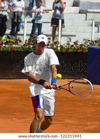 ROME, ITALY - MAY 13: Novak Djokovic trains at Internazionali BNL on May 13, 2012 in Rome, Italy - stock photo