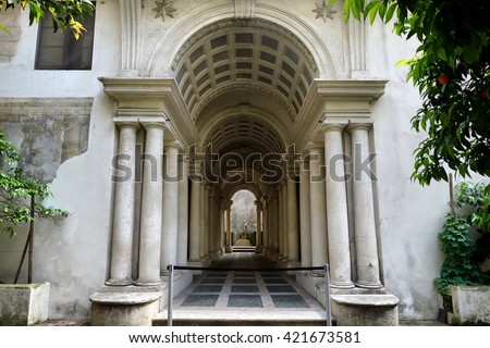 ROME, ITALY - MAY 1, 2016: Palazzo Spada the forced perspective gallery by Francesco Borromini. The baroque corridor is only nine meters long, but looks much longer
