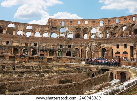 ROME, ITALY - MAY 03, 2014: People in the Colosseum in Rome, Italy