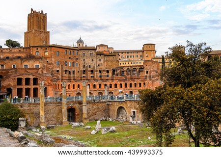 ROME, ITALY - MAY 7, 2016: Roman Forum, a rectangular forum surrounded by the ruins of several important ancient government buildings at the center of the city of Rome.