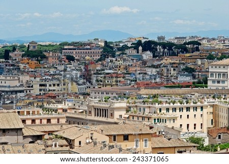 ROME, ITALY - MAY 29: Rome aerial view from Vittorio Emanuele monument on May 29, 2014, Rome, Italy.