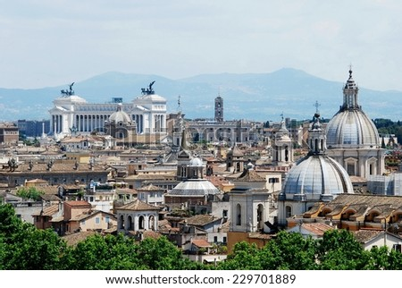 ROME, ITALY - MAY 30: Rome city aerial view from San Angelo castle on May 30, 2014, Rome, Italy. - stock photo
