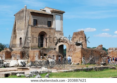 ROME, ITALY - MAY 29: Ruins of the old and beautiful city Rome. Tourists in Rome city on May 29, 2014, Rome, Italy.