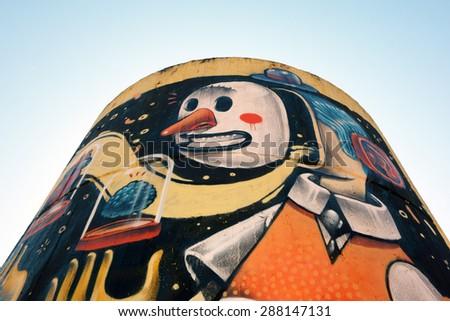 "ROME, ITALY - MAY 10, 2015: Street Art fresco in Monti Tiburtini Metro station for the project ""Roma magistra artis"" - stock photo"