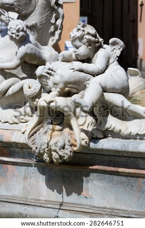 ROME, ITALY - MAY 17, 2015: The Fountain of Neptune, at Piazza Navona. This fountain from 1576 depicts the god Neptune with his trident fight against an octopus and other mythological creatures