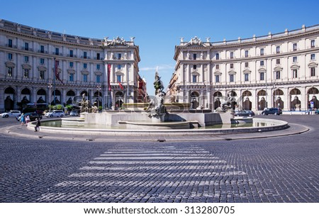 ROME, ITALY - May 10 ,2015 : The Fountain of the Naiads on Piazza della Repubblica in Rome during the day. People and vehicles can be seen. - stock photo
