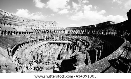 ROME, ITALY - MAY 1, 2015 - The interior structure of Colosseum in Rome, Italy. The Colosseum is built of concrete and sand and is the largest amphitheatre ever built. - stock photo