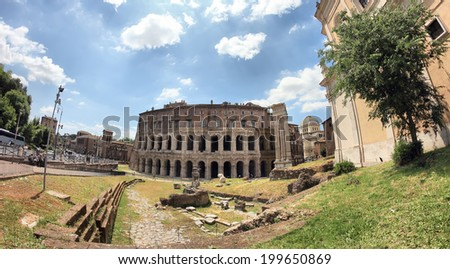 ROME, ITALY - MAY 20, 2014: The Theatre of Marcellus in a fish-eye view