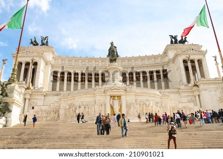 ROME, ITALY - MAY 03, 2014: Tourists at the monument to Victor Emmanuel II. Piazza Venezia, Rome  , Italy