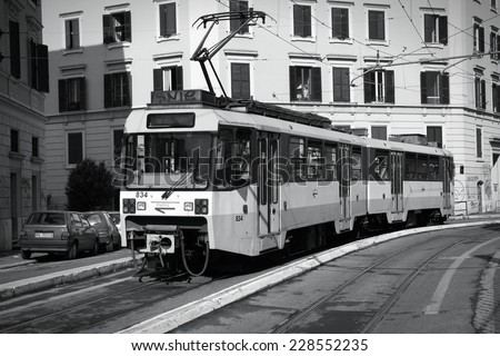 ROME, ITALY - MAY 12, 2010: Tram in Rome, Italy. The tram (officially railway) is operated by Rome Metro, which has an annual ridership of 331 million passengers (2008, 32nd worldwide).