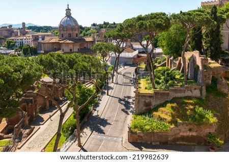 ROME, ITALY - MAY 15, 2014: View of Roman Forum.