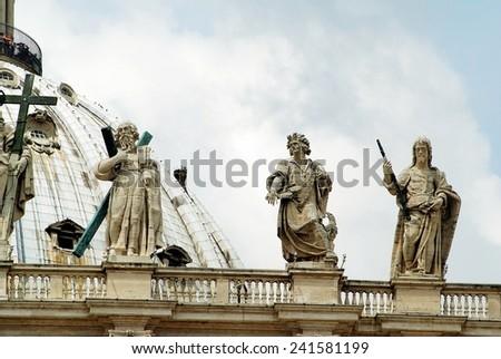 ROME, ITALY - MAY 31: View of top of St Peter Basilica roof on May 31, 2014, Rome, Italy. - stock photo