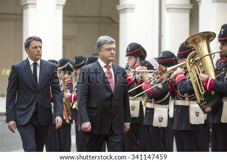 ROME, ITALY - Nov 19, 2015: President of Ukraine Petro Poroshenko with Prime Minister of Italy Matteo Renzi during an official visit in Rome
