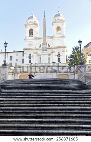 ROME, ITALY, November 26, 2011: The famous Spanish Steps at morning, Rome, Italy - stock photo