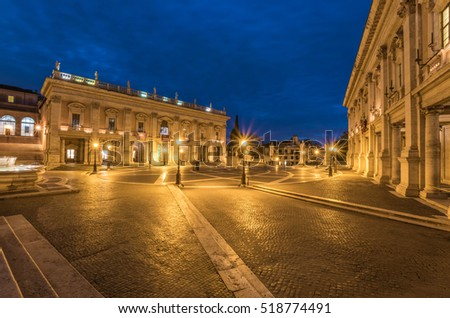 ROME, ITALY - 18 NOVEMBER 2016 - The famous square named Piazza del Campidoglio, in the blue hour
