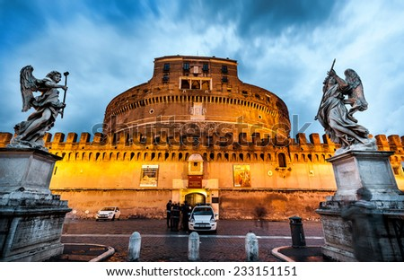 Rome, Italy - November 17, 2014: The Mausoleum of Hadrian, usually known as Castel Sant'Angelo  is one of the main tourist attractions in Rome. - stock photo
