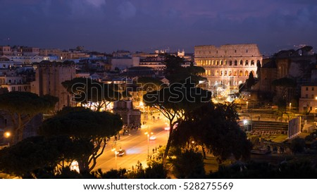 Rome, Italy - November 26, 2016: View of Rome from the Vittoriano monument.