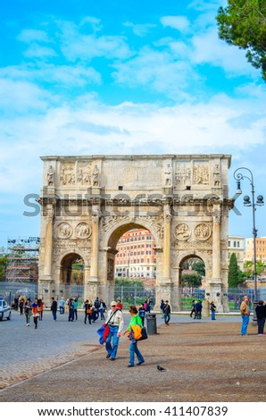 ROME, ITALY- OCTOBER 21, 2015: Arch of Constantine, Rome, Italy. The ruins of Roman forum.