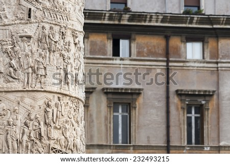 ROME, ITALY - OCTOBER 26, 2014: Detail of Trajan's Column in Rome, Italy.