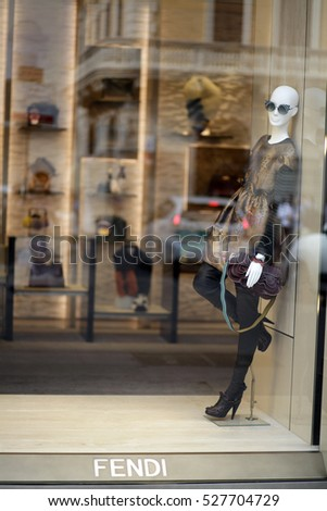 ROME, ITALY - 17 OCTOBER 2016: Fendi shop window on Via del Corso, main shopping street in Rome, Italy