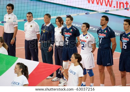 ROME, ITALY - OCTOBER 10:  Italian team lines up for national anthem at Volleyball World Championships bronze medal match Italy vs Serbia at Palalottomatica in Rome on October 10, 2010