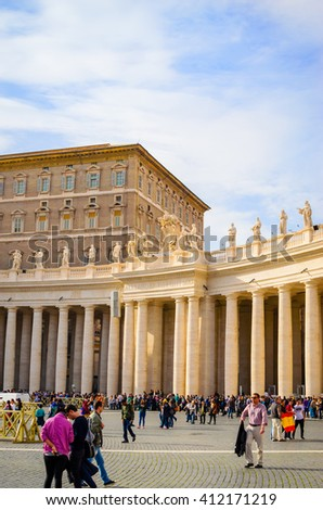 ROME, ITALY - OCTOBER 15, 2015: people and pilgrims in St. Peter's Square in the Vatican city, Rome, Italy