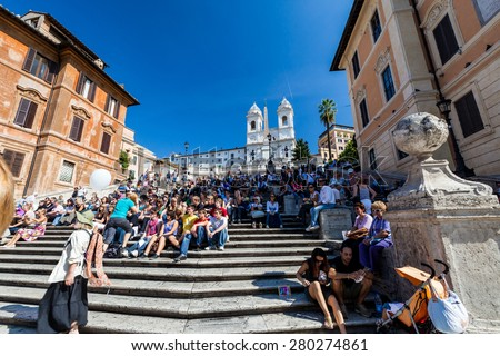 ROME, ITALY - OCTOBER 4: View to the Spanish Steps and the buildings around in Rome on October 4, 2009. Rome is the capital of Italy and region of Lazio. - stock photo