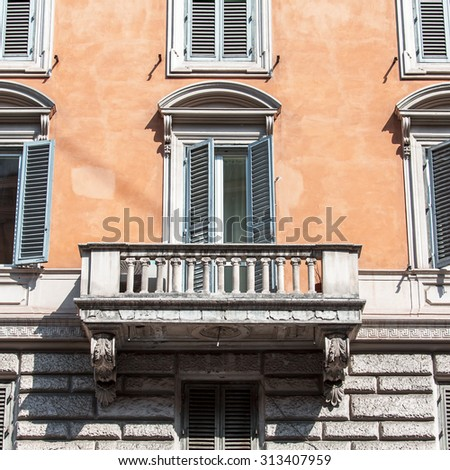 ROME, ITALY, on AUGUST 25, 2015. Typical architectural details of historical city building