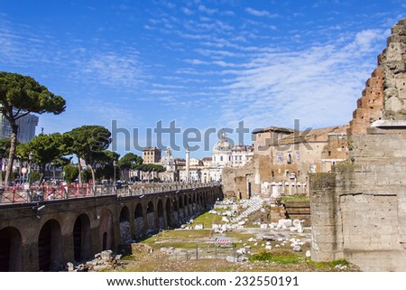 Rome, Italy, on February 25, 2010. Ruins of ancient constructions. Place of archeological excavations