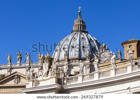 Rome, Italy, on March 6, 2015. Architectural fragments of St. Peter's Cathedral in Vatican