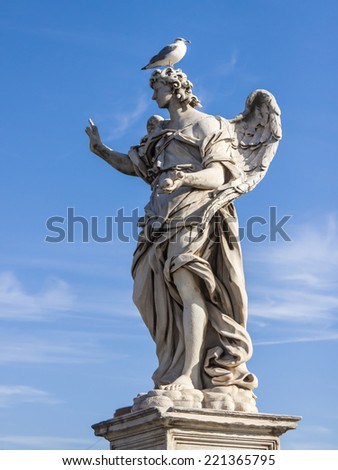 Rome, Italy, on October 10, 2012. A sculpture the Angel decorating the Sacred Angel the bridge