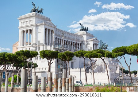 Rome.Italy. Piazza Venezia. Monument to Vittorio Emanuele ii and the altar of the Fatherland - stock photo