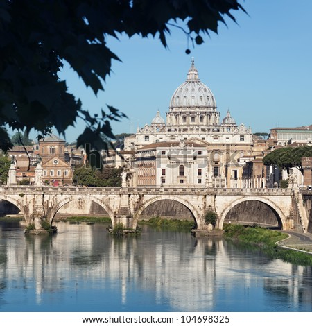 ROME - ITALY, River Tiber, Ponte Sant Angelo and St. Peter's Basilica in the background. - stock photo