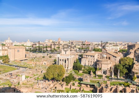 Rome, Italy. Roman and Imperial Forums: Curia Julia, the Temple of Vesta and the house of the Vestals, the Temple of Antoninus and Faustina, the Temple of Romulus, Santi Cosma e Damiano