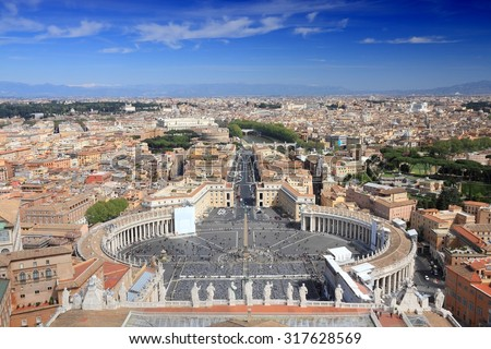 Rome, Italy. Saint Peter's Square in Vatican and aerial view of the city. UNESCO World Heritage Site.